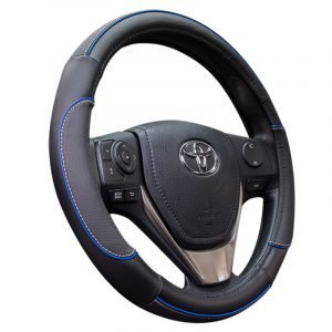Blue Trimmed Steering Wheel Cover