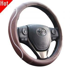 Brown Car Steering Wheel Cover