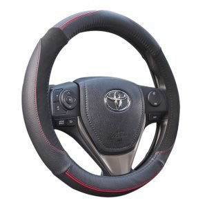 - Durable, leather-like vinyl construction with non-slip gripping points - Elegant Red strip makes an attractive performance on the 2017 Steering Wheel Cover